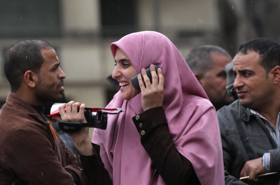 Women has been at the forefront of the organization of the protests at Tahrir Square.